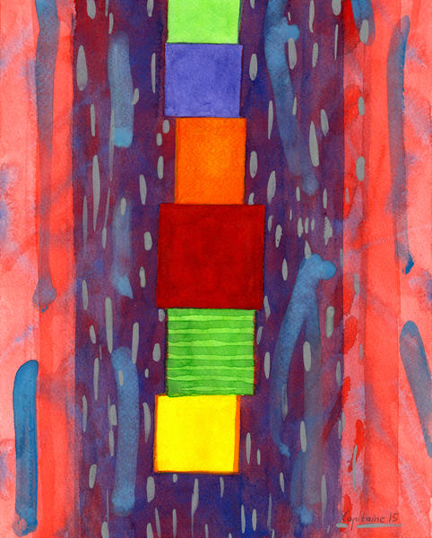 Colorful piled Cubes within free Painting by Heidi Capitaine