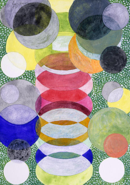 Overlapping Ovals and Circles on Green Dotted Ground by Heidi Capitaine
