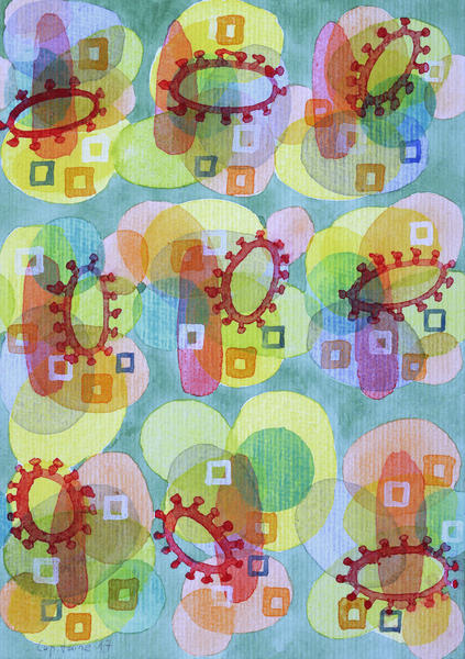 Lovely Pattern with Red Rings  by Heidi Capitaine