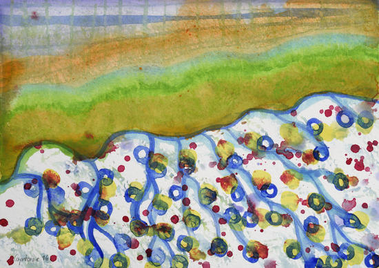 Curved Hill with Blue Rings by Heidi Capitaine