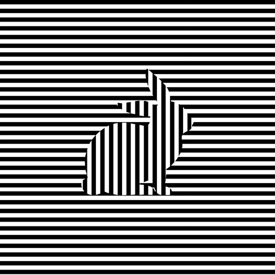 Rabbit Silhouette on Stripes by Divotomezove