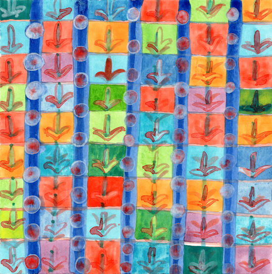Colorful Planting Plants in Squares Pattern  by Heidi Capitaine