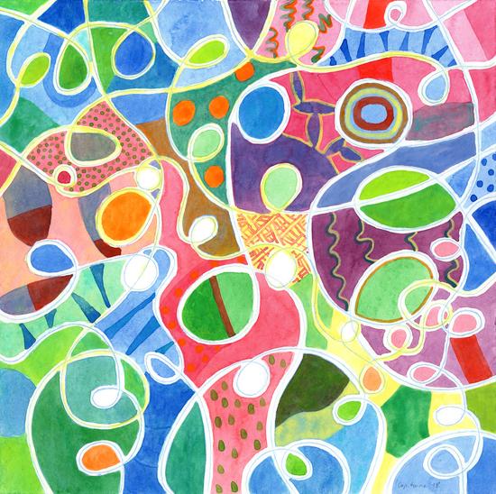 Jubilant Loops Pattern  by Heidi Capitaine