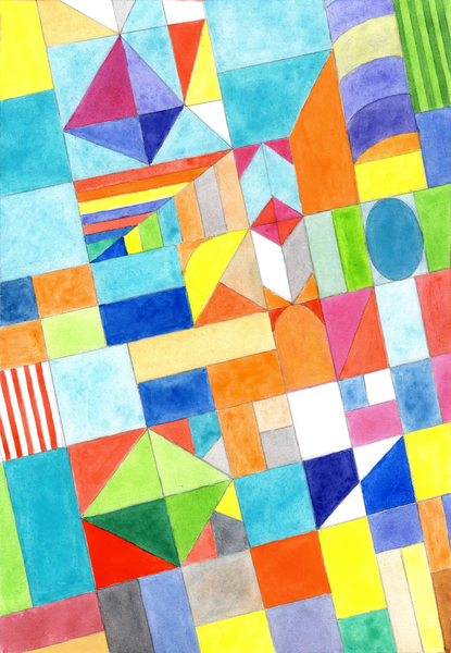Playful Colorful Architectural Pattern  by Heidi Capitaine