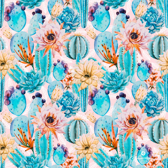 Cactus and flowers pattern by mmartabc