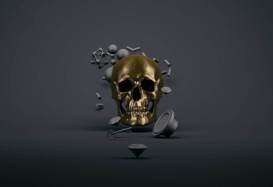 Golden Skull 2 by Eugene Soloviev