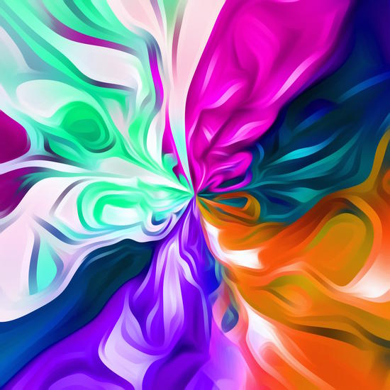 pink purple orange blue and green spiral painting abstract background by Timmy333