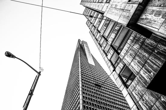 pyramid building and modern building in black and white at San Francisco, USA by Timmy333