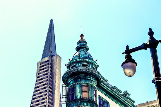 pyramid building and vintage style building at San Francisco, USA by Timmy333