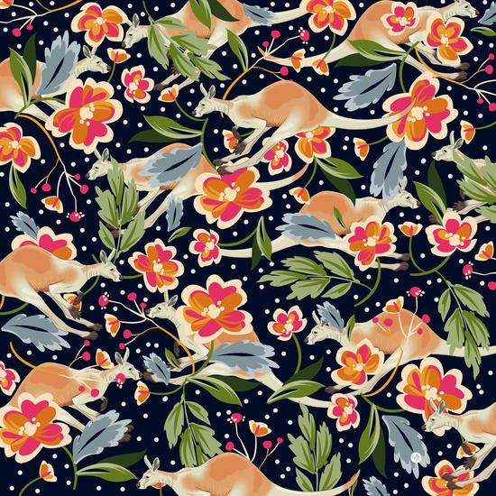 Pattern flowers and kangaroo by mmartabc