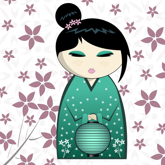 Pink flower kokeshi by PIEL Design