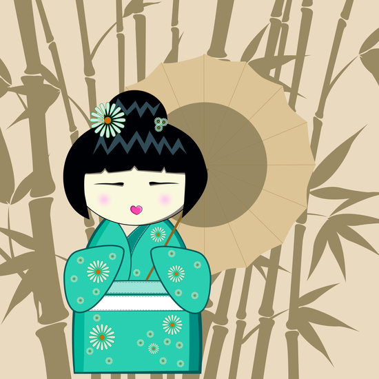 Brown umbrella kokeshi by PIEL Design