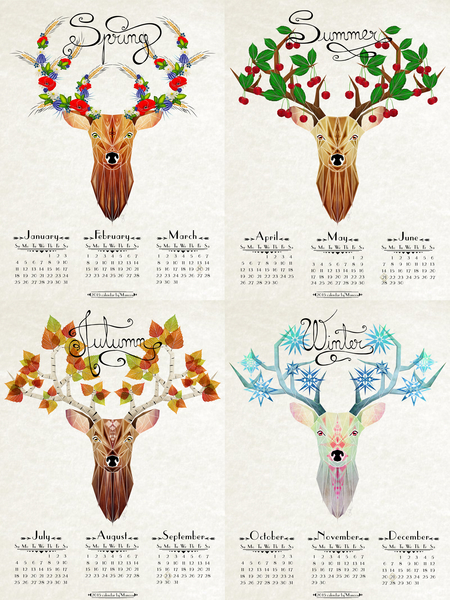 deer calendar 2015 by Manoou