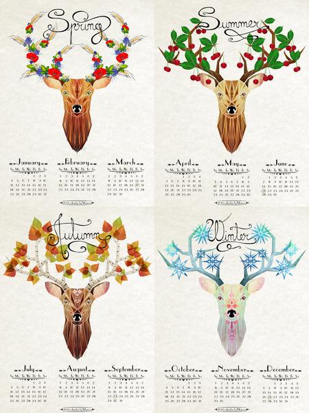 deer calendar 2015 by Manoou