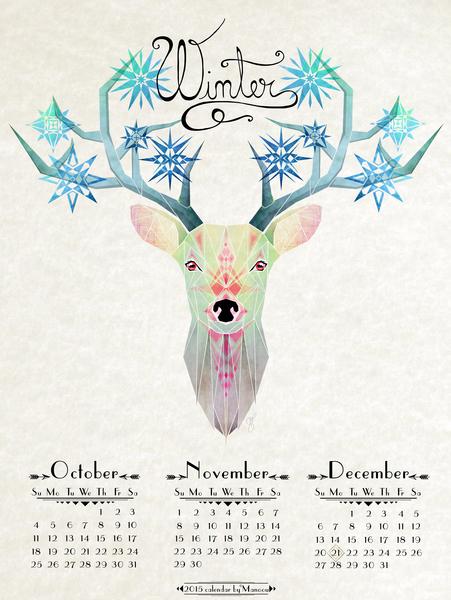 deer winter by Manoou