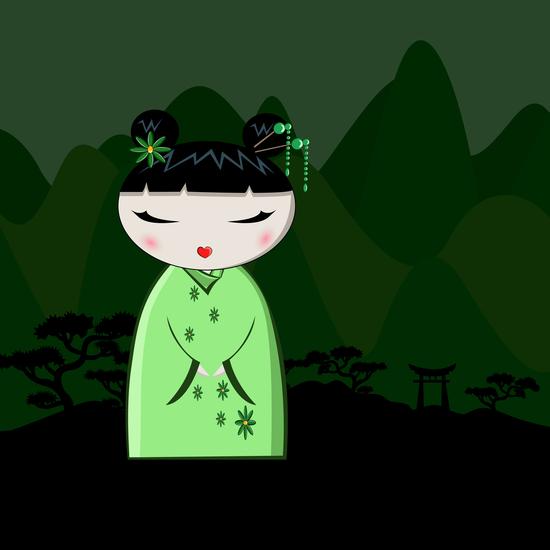 Green Kokeshi by PIEL Design