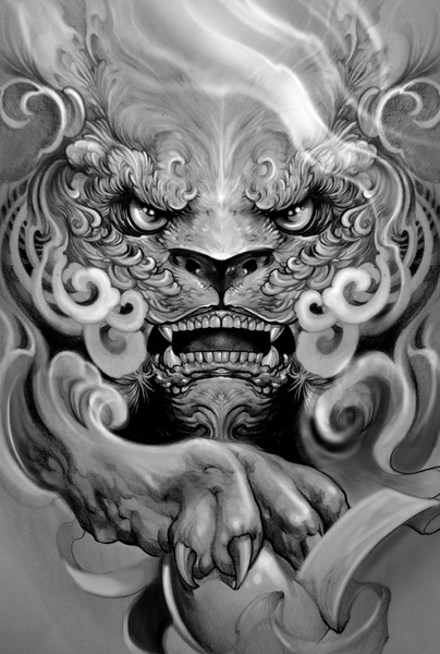 Foo dog by Elvintattoo