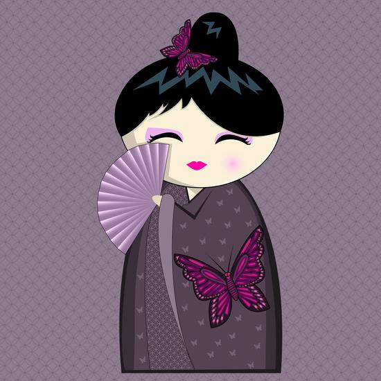 Purple kokeshi by PIEL Design