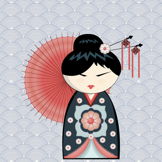 Red umbrella kokeshi by PIEL Design