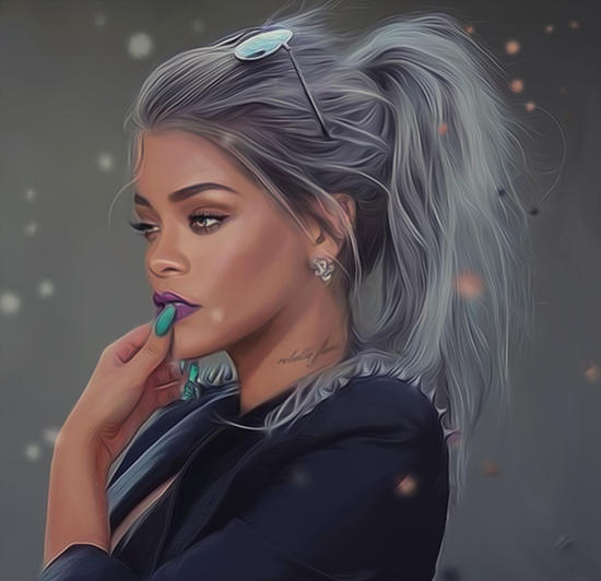 Rihanna Portrait by AndyKArt
