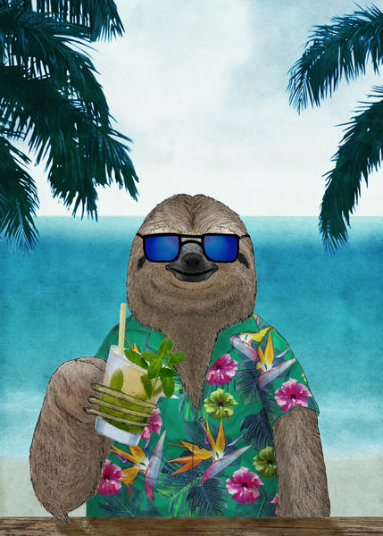 Sloth on summer drinking a mojito by Barruf