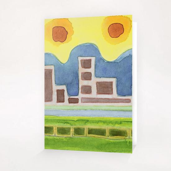 Surreal Simplified Cityscape  Greeting Card & Postcard by Heidi Capitaine