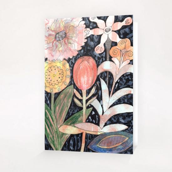 Mixed Flowers with Tulip on Black  Greeting Card & Postcard by Heidi Capitaine