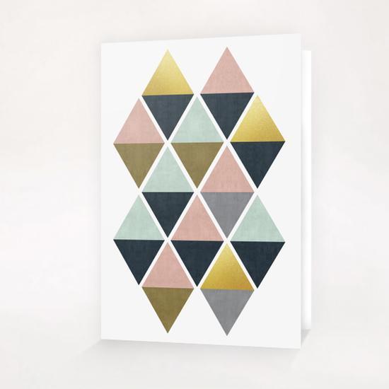 Colorful and golden triangles Greeting Card & Postcard by Vitor Costa