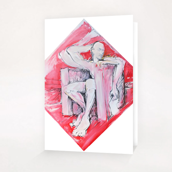 Sitting man Greeting Card & Postcard by Georgio Fabrello
