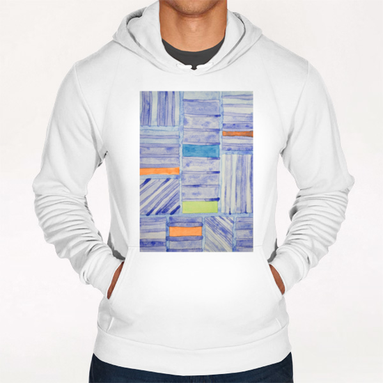 Blue Panel with Colorful Rectangles  Hoodie by Heidi Capitaine