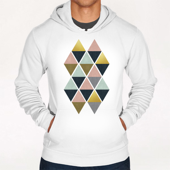 Colorful and golden triangles Hoodie by Vitor Costa