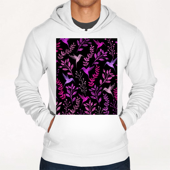 Watercolor Floral and Bird  Hoodie by Amir Faysal