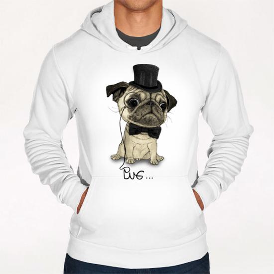 Pug; Gentle Pug Hoodie by Barruf