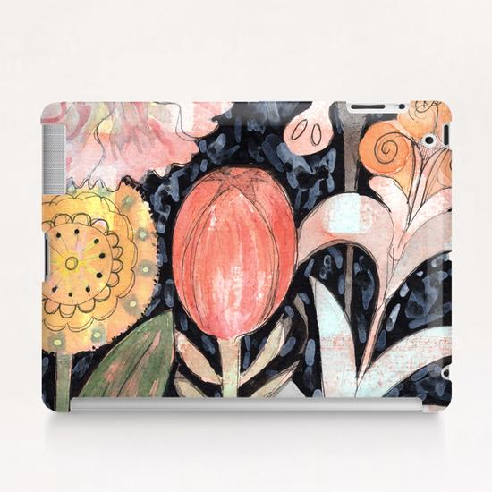 Mixed Flowers with Tulip on Black  Tablet Case by Heidi Capitaine