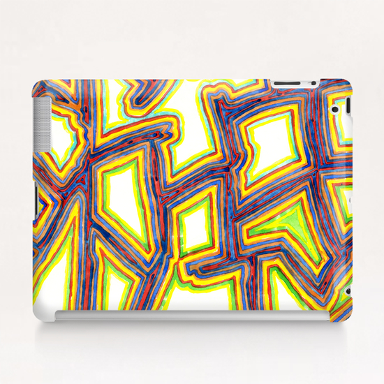 Outlined Fancy White Shapes Pattern  Tablet Case by Heidi Capitaine