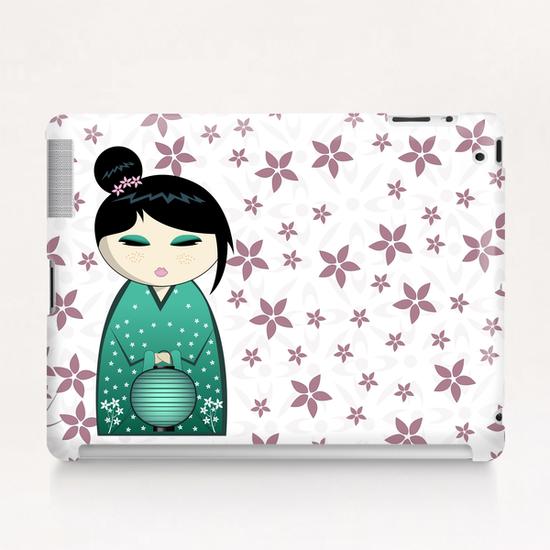 Pink flower kokeshi Tablet Case by PIEL Design
