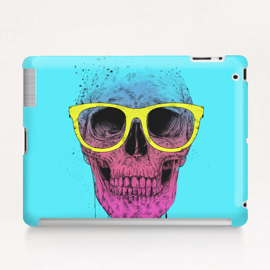 Pop art skull with glasses Tablet Case by Balazs Solti