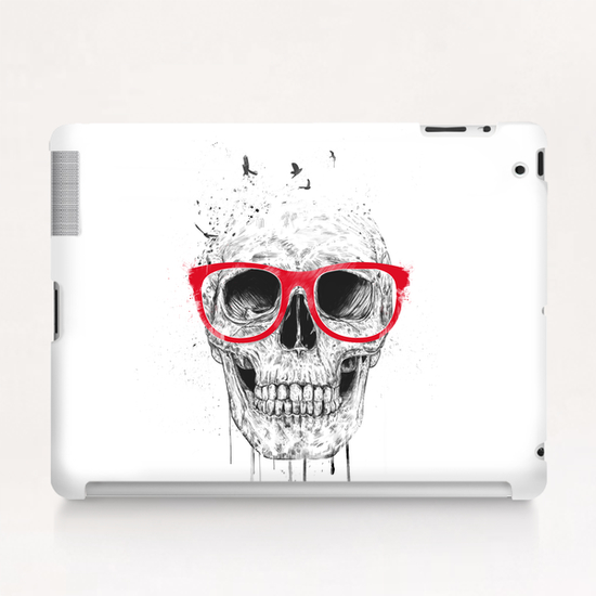 Skull with red glasses Tablet Case by Balazs Solti