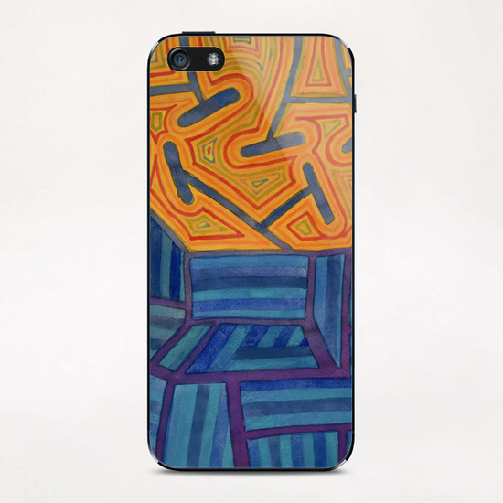 Blue Striped Segments combined with  An Orange Area   iPhone & iPod Skin by Heidi Capitaine