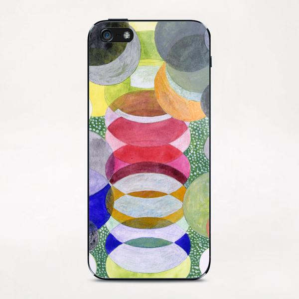 Overlapping Ovals and Circles on Green Dotted Ground iPhone & iPod Skin by Heidi Capitaine