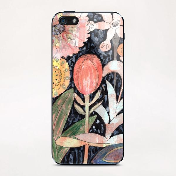 Mixed Flowers with Tulip on Black  iPhone & iPod Skin by Heidi Capitaine