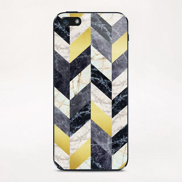 Chevron geometric marble and gold iPhone & iPod Skin by Vitor Costa