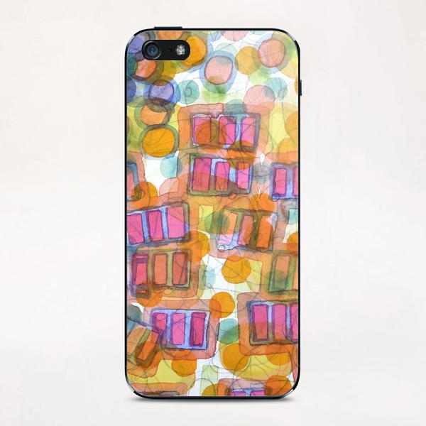 Happy Pattern with Pink Blocks iPhone & iPod Skin by Heidi Capitaine