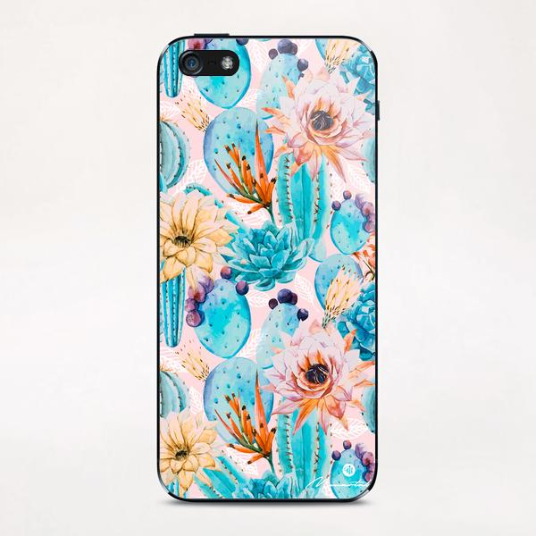 Cactus and flowers pattern iPhone & iPod Skin by mmartabc
