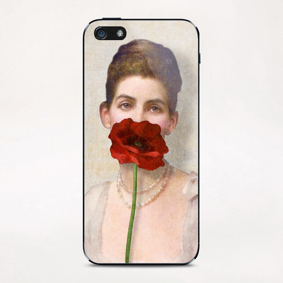 Girl with Red Poppy Flower iPhone & iPod Skin by DVerissimo