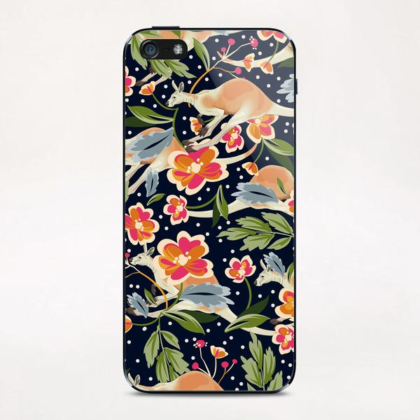 Pattern flowers and kangaroo iPhone & iPod Skin by mmartabc