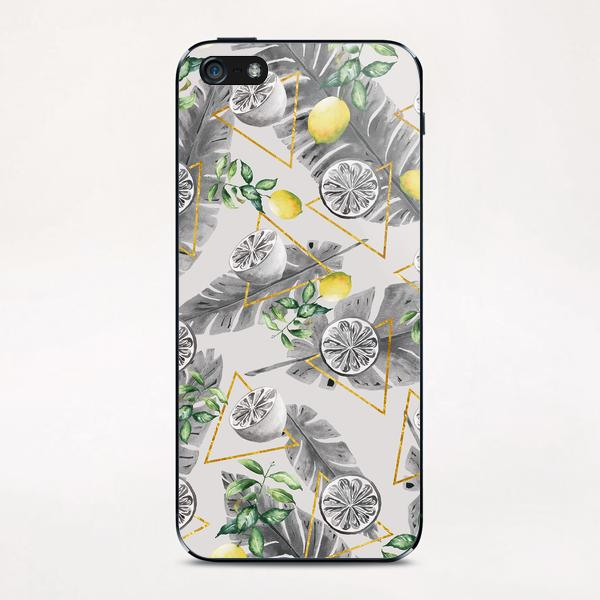Pattern triangles with lemons iPhone & iPod Skin by mmartabc
