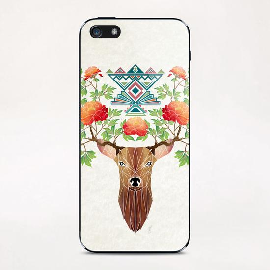 deer flowers iPhone & iPod Skin by Manoou