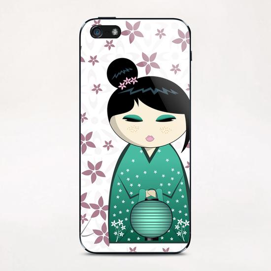 Pink flower kokeshi iPhone & iPod Skin by PIEL Design