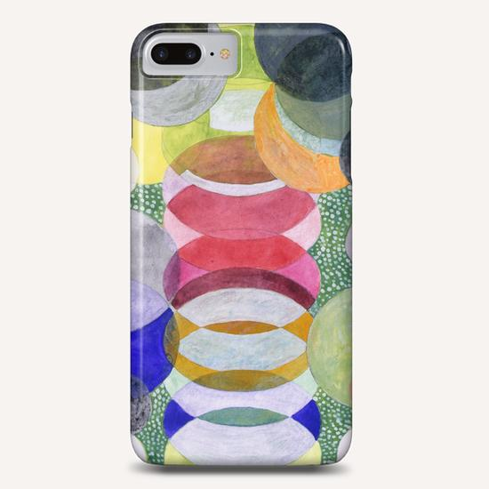 Overlapping Ovals and Circles on Green Dotted Ground Phone Case by Heidi Capitaine